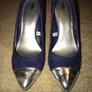 Navy suede heels with silver tips